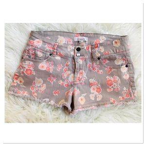 2.1 Denim Shorts Floral Pattern Distressed Hem 30